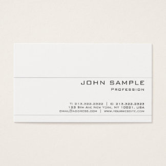 Create Your Own Modern Elegant White Matte Chic Business Card