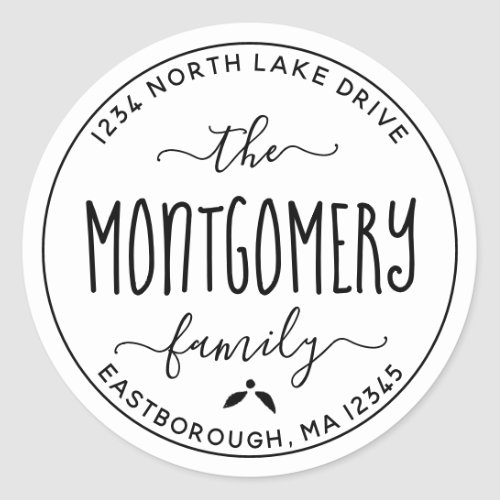 Create Your Own Modern Family Name Return Address Classic Round Sticker