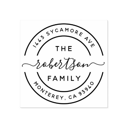 Create Your Own Modern Family Name Return Address Rubber Stamp