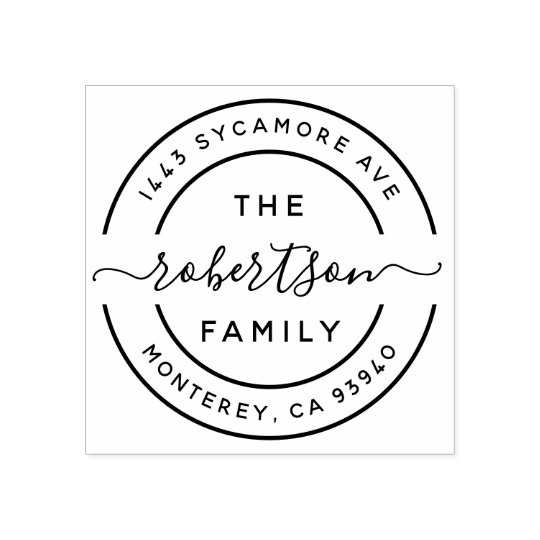 Design Your Own Rubber Stamp: Create Your Own Modern Family Name Return Address Rubber