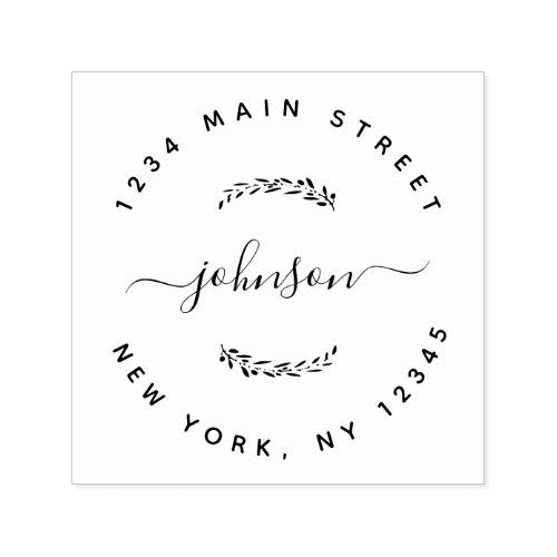 Create Your Own Modern Round Return Address Self_inking Stamp