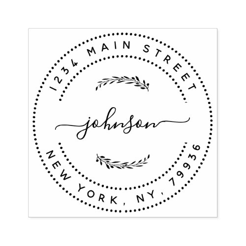 Create Your Own Modern Round Return Return Address Rubber Stamp