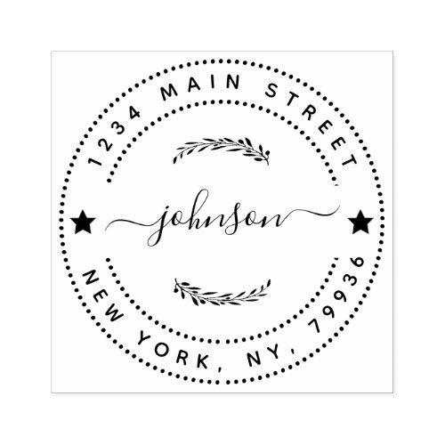 Create Your Own Modern Round Return Return Address Rubber Stamp