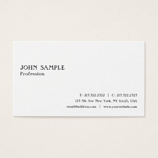 Create Your Own Modern Simple White Plain Stylish Business Card