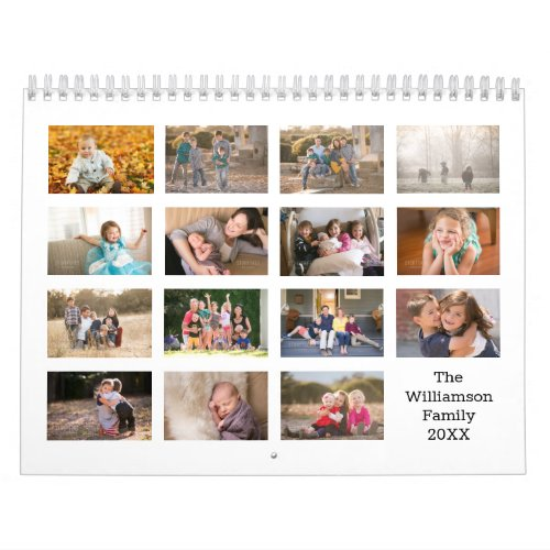 Create Your Own Modern White Cover 15 Month Photo Calendar