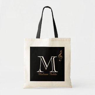 create your own monogram music tote bag