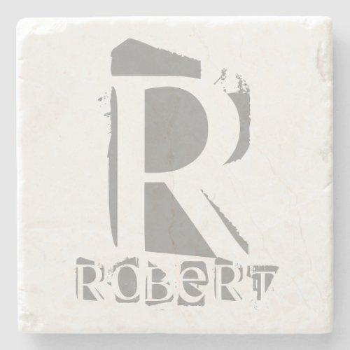 Create Your Own Monogram Template Elegant Marble Stone Coaster