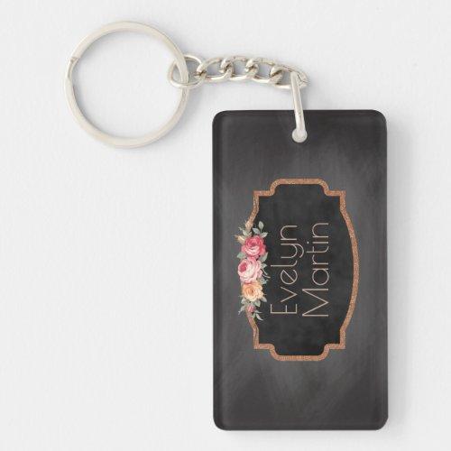 Create Your Own Monogram  Vintage Chalkboard Rose Keychain