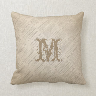 Create Your Own Monogram Vintage Newspaper Pillow
