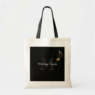 create your own monogrammed music black tote bag