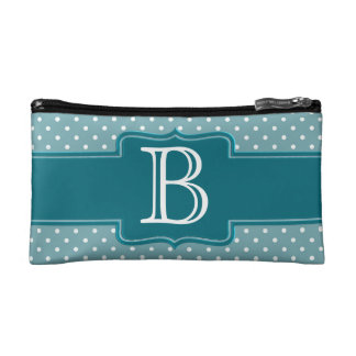 Create Your Own Monogrammed Teal Jade Polka Dots Cosmetic Bags