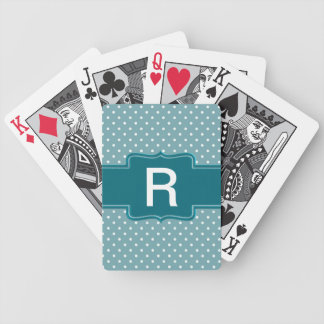 Create Your Own Monogrammed Teal Jade Polka Dots Bicycle Playing Cards