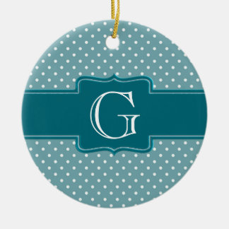 Create Your Own Monogrammed Teal Jade Polka Dots Ceramic Ornament