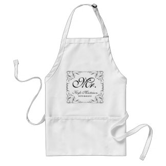 Create Your Own Mr Mrs His Hers Wedding Monogram Adult Apron