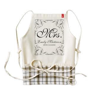 Create Your Own Mr Mrs His Hers Wedding Monogram Zazzle HEART Apron