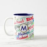 """create your own name pattern color Two-Tone coffee mug<br><div class=""""desc"""">Add your own name, brand or any other special word to the template to create an exclusive and colorful pattern of names of different font styles, with your initial letter in a circle logo. A creative way to gift someone. It&#39;s easy and fun to create, and the end result is...</div>"""