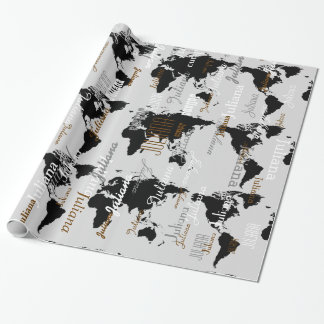 create your own name pattern . world maps wrapping paper