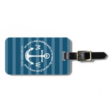 Create Your Own Nautical Anchor Heart Coastal Logo Bag Tag