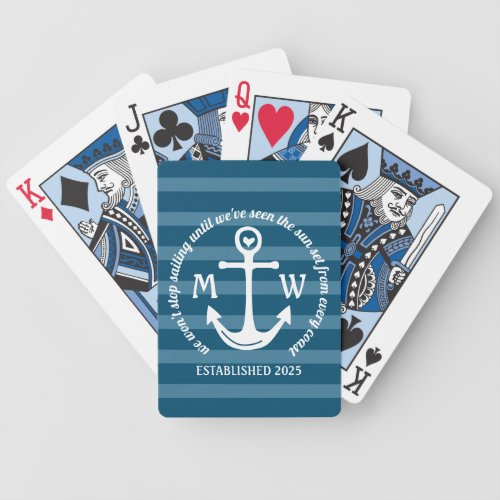 Create Your Own Nautical Anchor Heart Coastal Logo Bicycle Playing Cards