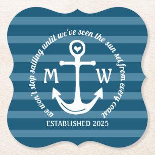 Create Your Own Nautical Anchor Heart Coastal Logo Paper Coaster