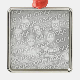 Create Your Own One-Sided Square Photo Keepsake Metal Ornament