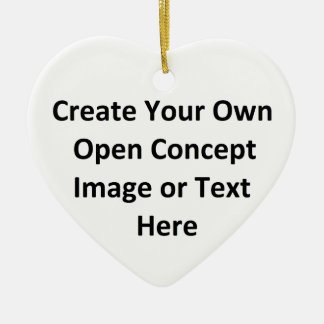 Create Your Own Open Concept Image or Text Here Double-Sided Heart Ceramic Christmas Ornament