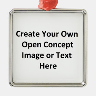 Create Your Own Open Concept Image or Text Here Square Metal Christmas Ornament