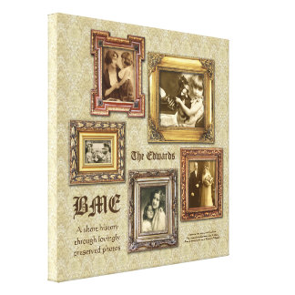 Create Your Own Ornate Gold Antique Frames Collage Canvas Print