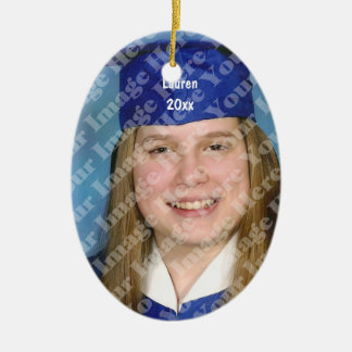 Create Your Own Oval Photo Keepsake With Text Double-Sided Oval Ceramic Christmas Ornament