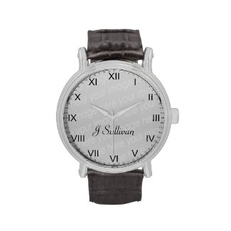 The Vintage eWatchFactory Watch will never go out of style. Featuring a three-hand quartz movement and genuine leather strap, this watch's classic look is great for formal or fun occasions. Customize with your photos, artwork, and text
