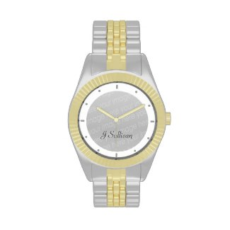 The gold and silver tone watch is a small-faced watch perfect for everyday wear. Customize with your photos, artwork, and text. Adjustable two-tone metal bracelet with trifold closure. Water resistant to 30 meters. Three-hand quartz movement. Powered by battery (included).