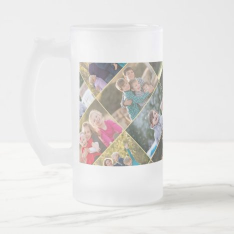 Create Your Own Personalized 6 Photo Collage Frosted Glass Beer Mug