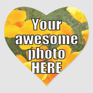 Create Your Own Personalized My Photo Upload Gift Heart Sticker