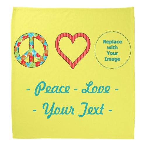 Create Your Own Personalized Peace Love Design Bandana