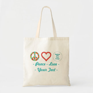 Create Your Own Personalized Peace Love Design Tote Bag