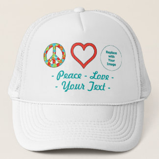 Create Your Own Personalized Peace Love Design Trucker Hat