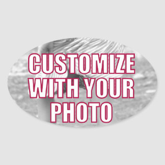 CREATE YOUR OWN Personalized Photo Present Oval Sticker