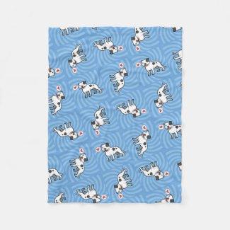 Cartoon Pit Bull Love Fleece Blanket