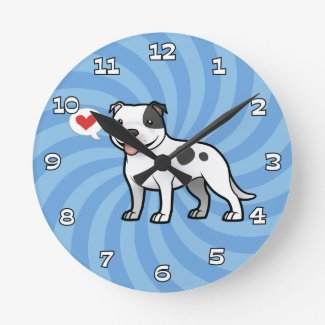 Cartoon Pit Bull Lover Wall Clock