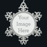 "Create Your Own Pewter Snowflake Ornament<br><div class=""desc"">Add your own personalized text or design to make a gorgeous snowflake framed ornament! Also try uploading your own design or adding a coordinating background color in the Edit menu to compliment your envelope.</div>"