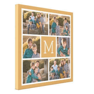 Create Your Own Photo Collage - 6 photos Monogram Canvas Print