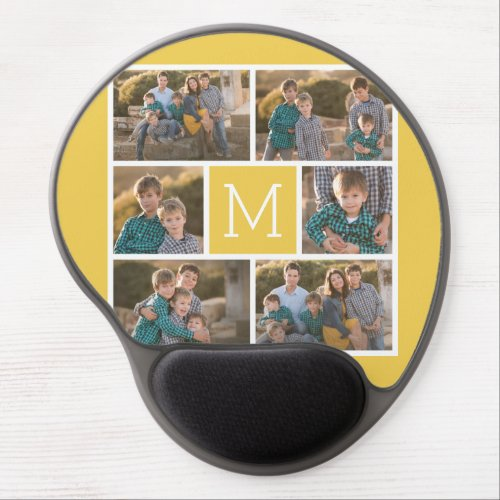 Create Your Own Photo Collage _ 6 photos Monogram Gel Mouse Pad