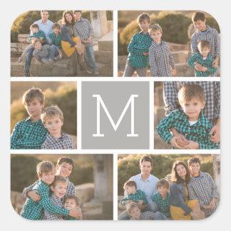 Create Your Own Photo Collage - 6 photos Monogram Square Sticker
