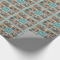 Create Your Own Photo Collage - 6 photos Monogram Wrapping Paper
