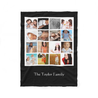 Create Your Own Photo Collage Mosaic Personalized Fleece Blanket