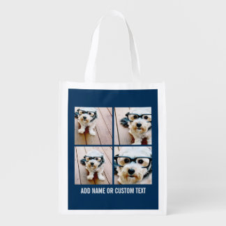 Create Your Own Photo Collage Navy 4 Pictures Reusable Grocery Bag