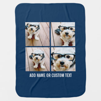 Create Your Own Photo Collage Navy 4 Pictures Stroller Blanket