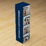"""Create Your Own Photo Collage Navy 4 Pictures Wine Box<br><div class=""""desc"""">Use four square photos to create a unique and personal gift. Or you can keep the hipster puppy and make a trendy keepsake. If you need to adjust the pictures,  click on the customize tool to make changes.</div>"""