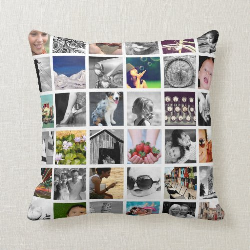 Create_Your_Own Photo Collage Throw Pillow