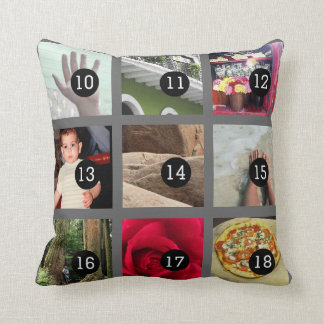 Create Your Own Photo collage with 18 images Throw Pillow